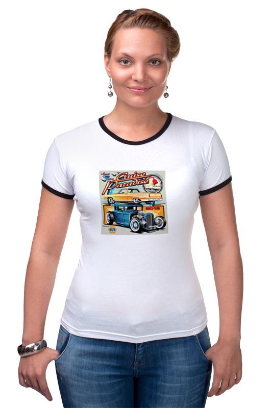 Футболка Рингер Printio Ретро автомобили спутник по древнему пскову любителям родной старины