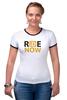 """Футболка """"Рингер"""" (Женская) """"ride-now"""" - спорт, логотип, велосипед, актив"""