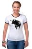 """Футболка """"Рингер"""" (Женская) """"Черный Бык"""" - животные, black, бык, bull"""