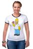 """Футболка """"Рингер"""" (Женская) """"Homer Simpsons"""" - прикольные"""