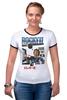 "Футболка ""Рингер"" (Женская) ""Rocky / Рокки"" - иероглифы, сталлоне, рокки, rocky, kinoart"