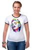 """Футболка """"Рингер"""" (Женская) """"Мадонна (Madonna)"""" - madonna, мадонна, полигоны, polygons"""