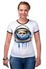 """Футболка """"Рингер"""" (Женская) """"Dead Astronaut"""" - skull, череп, космос, astronaut, dead, cosmos, шлем, космонавт"""