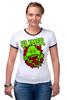 """Футболка Рингер """"Лизун (Slimer)"""" - охотники за привидениями, ghostbusters, лизун"""