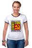 """Футболка """"Рингер"""" (Женская) """"Moscow Commie Con"""" - ссср, пародия, коммунизм, серп и молот, comic com"""