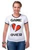 """Футболка """"Рингер"""" (Женская) """"Game Over (Игра Окончена)"""" - пиксель арт, 8 бит, 8-bit, расставание, разбитое сердце"""