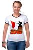 """Футболка """"Рингер"""" (Женская) """"1945 флаг"""" - ссср, победа, георгиевская ленточка, горжусь, помню"""