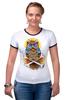 "Футболка Рингер ""Mysterious Owl"" - кости, сова, owl, мистическая сова"