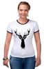 """Футболка """"Рингер"""" (Женская) """"Олень"""" - арт, краски, природа, олень, deer"""