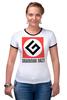 """Футболка """"Рингер"""" (Женская) """"Grammar Nazi"""" - grammar nazi, русский язык"""