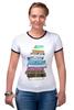 """Футболка """"Рингер"""" (Женская) """"для студентов"""" - книги, books, для студентов, для школьников, книгоман"""