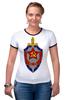"""Футболка Рингер """"КГБ """" - звезда, ссср, кгб, эмблемма, щит и меч"""