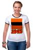 """Футболка """"Рингер"""" (Женская) """"Георгиевская лента"""" - ссср, победа, 1945, горжусь, помню"""