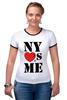 """Футболка """"Рингер"""" (Женская) """"NY"""" - i love, ny, nyc"""