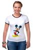 "Футболка ""Рингер"" (Женская) ""Mickey"" - микки маус, микки, mickey mouse"