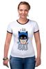 """Футболка """"Рингер"""" (Женская) """"I Am the Bat"""" - комиксы, batman, герой, бэтмен"""