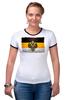 """Футболка """"Рингер"""" (Женская) """"Российская Империя"""" - герб, орёл, флаг, империя, российская империя"""