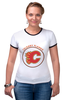 "Футболка ""Рингер"" (Женская) ""Calgary Flames,"" - хоккей, nhl, нхл, калгари флеймз, calgary flames"
