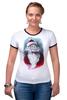 """Футболка """"Рингер"""" (Женская) """"Funny Santa"""" - новый год, santa claus, санта-клаус"""