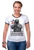 """Футболка """"Рингер"""" (Женская) """"Вежливость города берет!"""" - крым, вежливые люди, патриотическкие футболки"""
