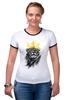 """Футболка """"Рингер"""" (Женская) """"Король Лев"""" - животные, корона, лев, царь зверей"""