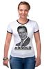 """Футболка """"Рингер"""" (Женская) """"Arnold Schwarzenegger"""" - кино, arnold schwarzenegger, терминатор, terminator, арнольд шварценеггер"""