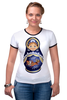 "Футболка Рингер ""Матрешка"" - матрешка, russian doll, символ россии"