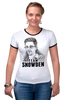 "Футболка ""Рингер"" (Женская) ""Edward Snowden"" - америка, россия, цру, edward snowden, эдвард сноуден"