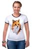 """Футболка """"Рингер"""" (Женская) """"Poly Fox"""" - fox, лиса, полигоны"""