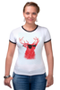 "Футболка Рингер ""Deer"" - cool, red, олень, хипстер, shades, deer"