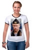 "Футболка ""Рингер"" (Женская) ""Putin"" - россия, russia, путин, президент, putin"