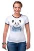 "Футболка ""Рингер"" (Женская) ""Панда"" - панда, panda"