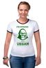 """Футболка """"Рингер"""" (Женская) """"I'm strong & i'm vegan"""" - веган, сильный, vegan, strong"""