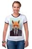 """Футболка """"Рингер"""" (Женская) """"Деловой лис"""" - модно, стильно, лис, fox, лиса"""