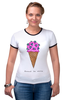 "Футболка ""Рингер"" (Женская) ""Diamond ice cream"" - арт, мороженое, ice cream, diamond"