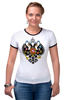 """Футболка """"Рингер"""" (Женская) """"Российская Империя"""" - россия, герб, империя, российская империя, двухглавый орёл"""