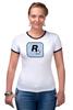 """Футболка """"Рингер"""" (Женская) """"Rockstar Light-Blue"""" - женская, grand theft auto, gta, rockstar, гта, rockstar games, video games, майки из игр"""