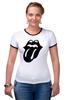 """Футболка Рингер """"Rolling Stones (Black)"""" - the rolling stones, роллинг стоунз"""