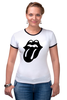 "Футболка ""Рингер"" (Женская) ""Rolling Stones (Black)"" - the rolling stones, роллинг стоунз"