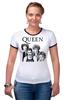"Футболка ""Рингер"" (Женская) ""Queen group"" - queen, фредди меркьюри, freddie mercury, куин, rock music"