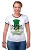 """Футболка """"Рингер"""" (Женская) """"Настоящий Ирландец (100% Irish)"""" - череп, клевер, патрик, лепрекон, настоящий ирландец"""