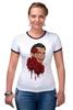 """Футболка """"Рингер"""" (Женская) """"Сальвадор Дали и розы."""" - арт, сюрреализм, roses, salvador dali, surrealism, artist"""
