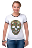"Футболка Рингер ""Череп"" - skull, череп, узор, сова, паттерн, символ, дудл"