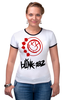 "Футболка ""Рингер"" (Женская) ""blink-182 red logo"" - blink-182, ava, blink 182, angelsandairwaves, blink182"