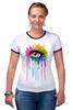 """Футболка """"Рингер"""" (Женская) """"Глаз Алмаз"""" - splash, арт, авторские майки, color, eye"""