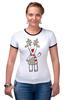 """Футболка """"Рингер"""" (Женская) """"Новогодняя фуфайка"""" - красивая, new year, white and snow-white, сказочная, christmas, reindeer"""