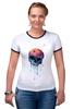 "Футболка Рингер ""Bleeding skull"" - skull, череп, apple"