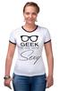 """Футболка """"Рингер"""" (Женская) """"Geek Sexy"""" - очки, geek, секси, гик"""