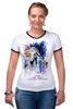 """Футболка """"Рингер"""" (Женская) """"Год лошади (с надписью)                        """" - арт, новый год, год лошади, символ 2014"""