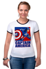 """Футболка """"Рингер"""" (Женская) """"Капитан Америка"""" - комиксы, кэп, мстители, марвел, капитан америка"""